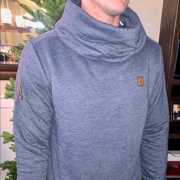 Men's blue Naketano cowl neck sweatshirt NWT
